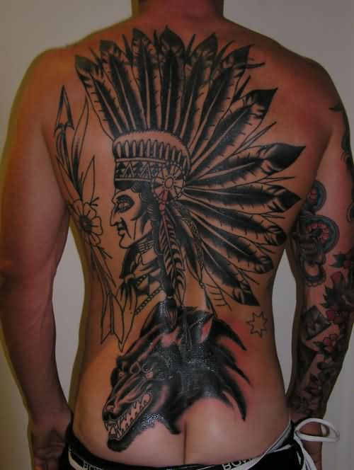 Amazing Black And Grey Ink Native American Tattoos On Back