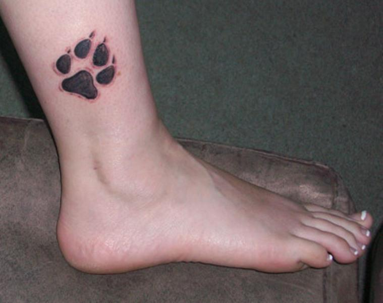 Amazing Black Paw Tattoo Above Ankle
