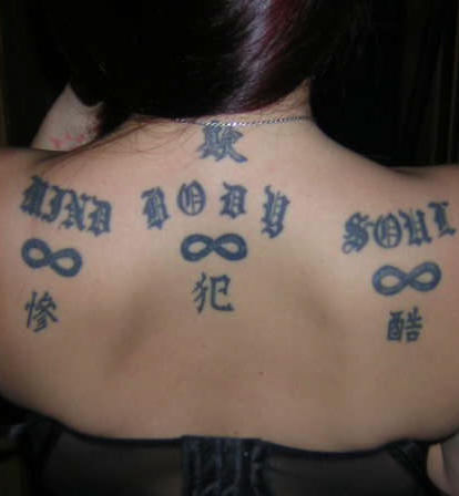 Amazing Black Symbol Tattoos On Upperback