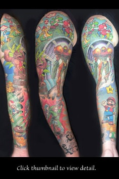 Amazing Colored Video Game Sleeve Tattoos
