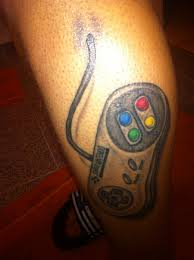 Amazing Game Controller Tattoo On Leg
