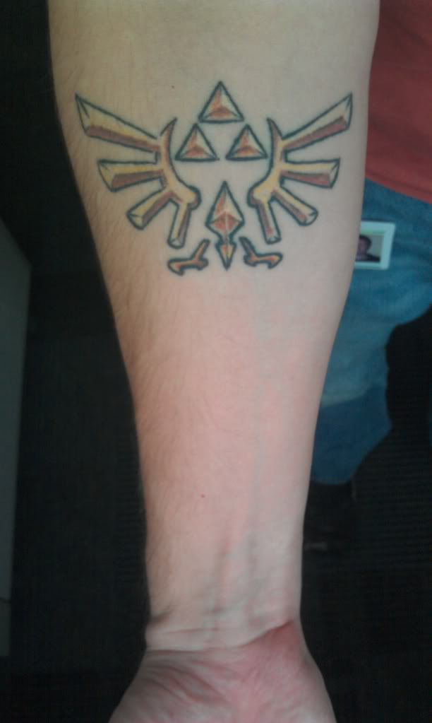 Amazing Golden Triforce Phoenix Tattoo On Lower Arm
