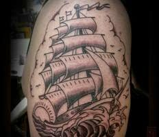 Amazing Grey Ink Nautical Tattoo