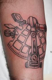 Amazing Grey Ink Sextant Tattoo