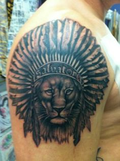 Amazing Grey Lion Native American Tattoo