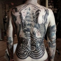 Amazing Grey Nautical Tattoos On Entire Back