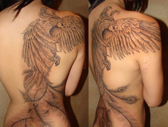 Amazing Grey Phoenix Tattoo On Back