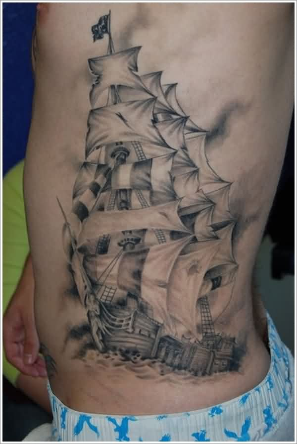 Amazing Grey Pirate Ship Tattoo On Side For Guys