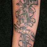Amazing Grey Pistol Tattoo