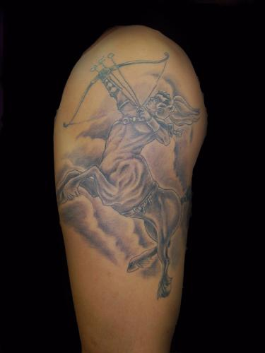 Amazing Grey Sagittarius Sign Tattoo On Arm