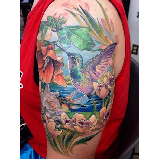 Amazing Nature Scene Tattoo On arm