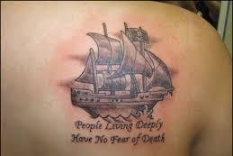 Amazing Nautical And Quote Tattoos On Back Shoulder