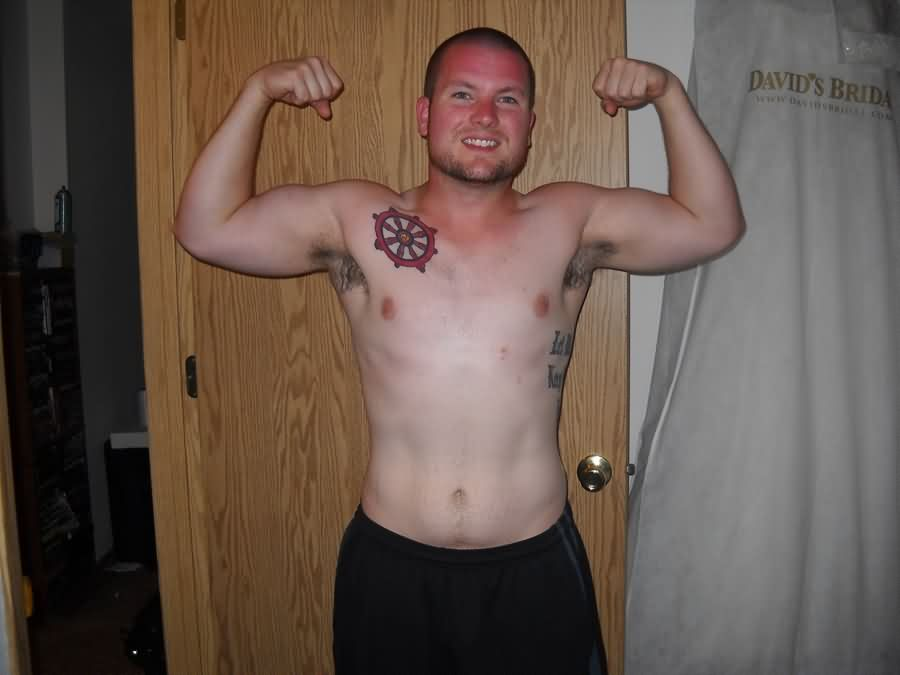 Amazing Nautical Ship Wheel Tattoo On Right Front Shoulder