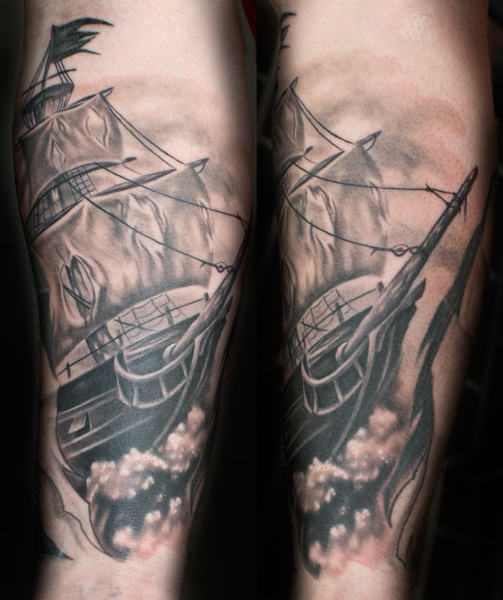 Amazing Original Pirate Ship Tattoo