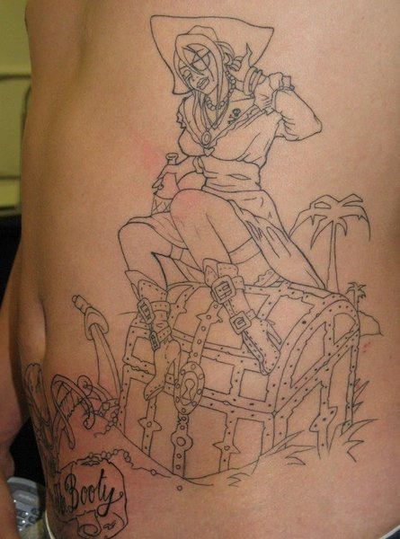 Amazing Outline Pirate Tattoos On Side Of Stomach