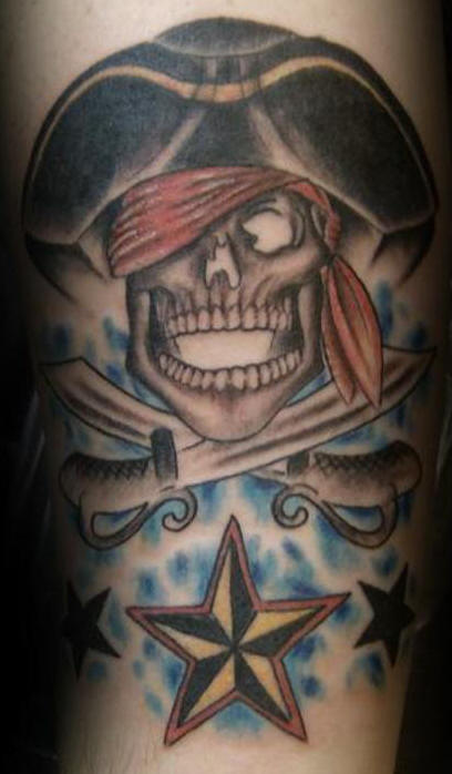 Amazing Pirate Skull And Star Tattoos