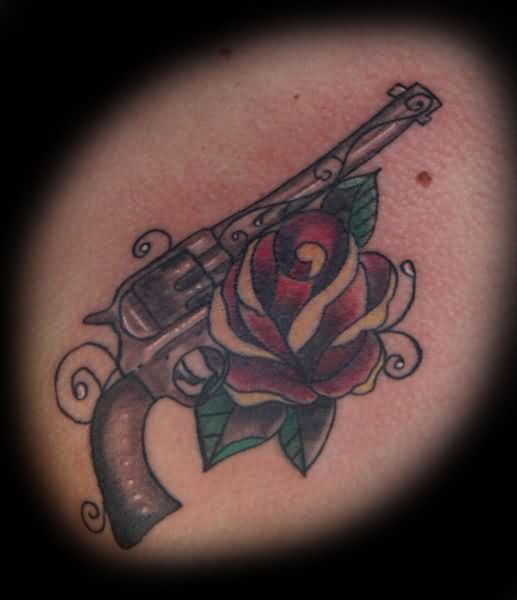 Amazing Pistol And Rose Tattoos Image