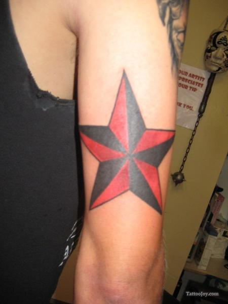 Amazing Red Black Nautical Star Tattoo On Arm