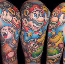 Amazing Super Mario Sleeve Tattoos