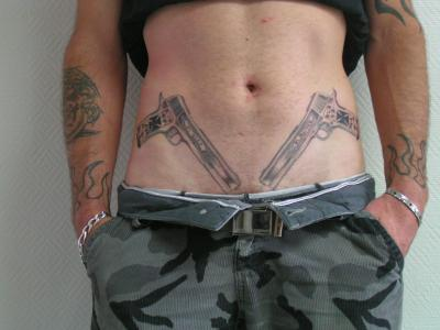 Amazing Twin Pistol Tattoos On Stomach For Men