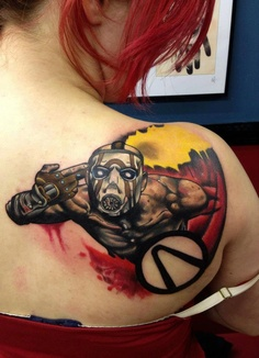 Amazing Video Game Tattoo Behind Right Shoulder