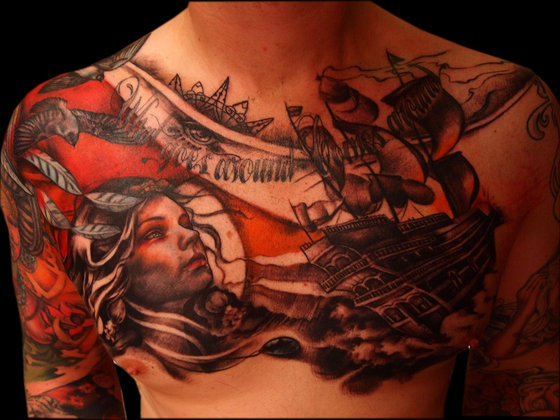 Amazing Woman Portrait And Nautical Tattoos On Full Chest