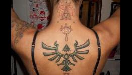 Amazing Zelda Tattoo On Upper Back