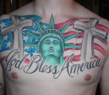 America Patriotic Tattoos On Full Chest