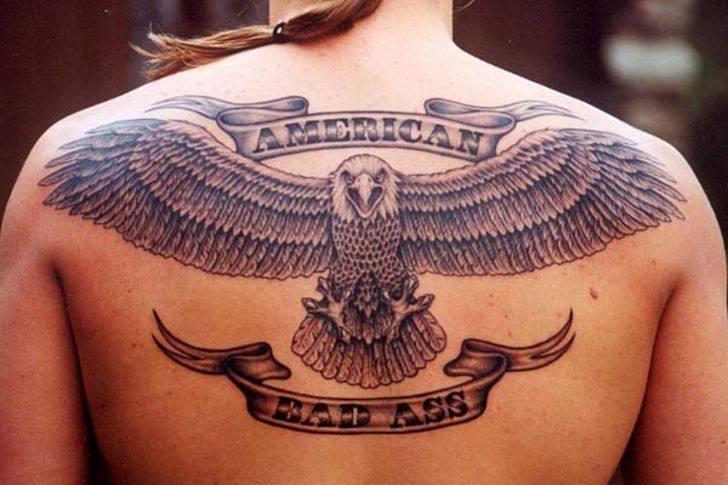 American Eagle With Wings Open Tattoo On Upperback