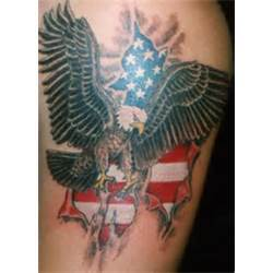 American Flag  And Eagle Ripped Skin Tattoos