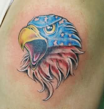American Flag Eagle Head Tattoo
