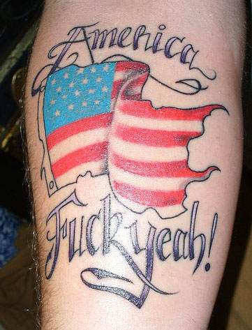 American Flag Patriotic Tattoo On Arm