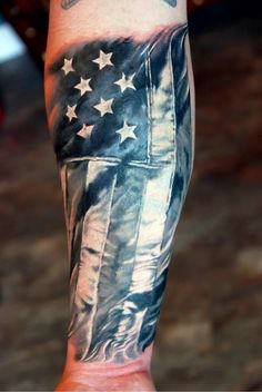 American Flag Patriotic Tattoo On Lower Sleeve