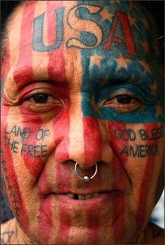 American Patriotic Tattoos On Full Face