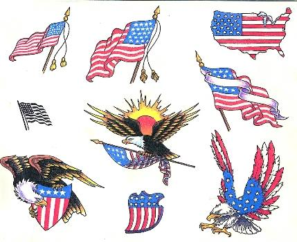 American Patriotic Tattoos Set