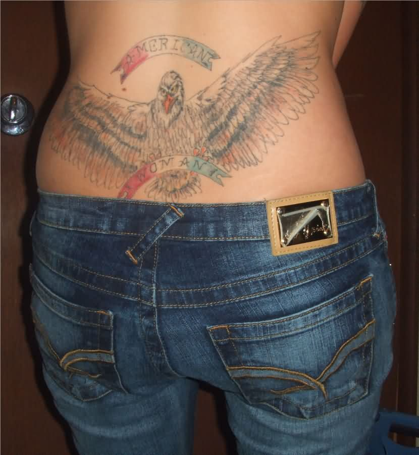American Woman Tattoo On Lowerwaist