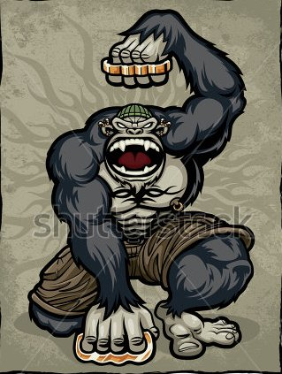 An Angry Screaming Gorilla Monkey Dressed As An Urban Thug With Body Tattoo Design