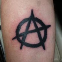 Anarchy Symbol Tattoo With Black Ink