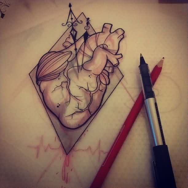 Anatomical Heart Tattoo Sketch