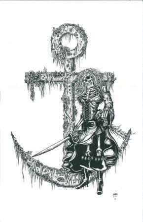 Anchor And Pirate Wench Tattoo Design