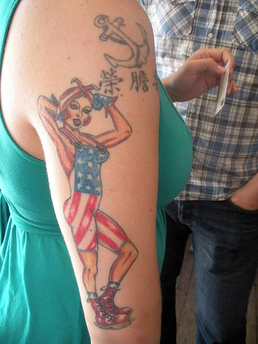 Anchor Chinese Symbols And Hot Patriotic Girl Tattoos On Arm