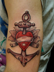 Anchor In A Red Heart - Nautical Tattoo