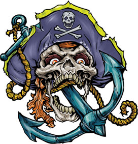 Anchor In Pirate Skull Tattoo Sample