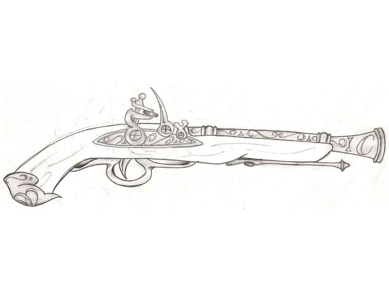Ancient Pistol Tattoo Sketch