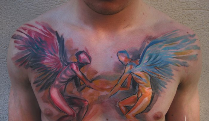 Angel And Demons Painting Tattoo On Chest