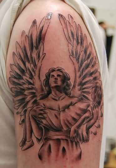 Angel Carry A Kid Tattoo On Biceps