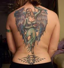 Angel In Blue Dress Tattoo On The Back