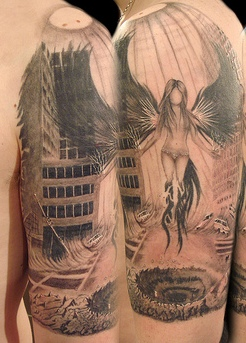 Angel In City Tattoo On Arm