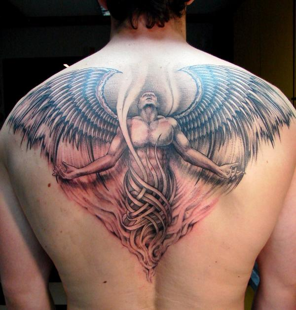 Angel Looking Up Tattoo On Back