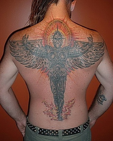 Angel With Arms Wide Open Tattoo On Back